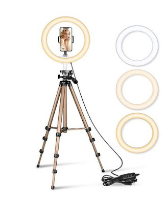 GIXON Selfie Ring Light For Camera And Phone With Tripod Stand 10 Inch