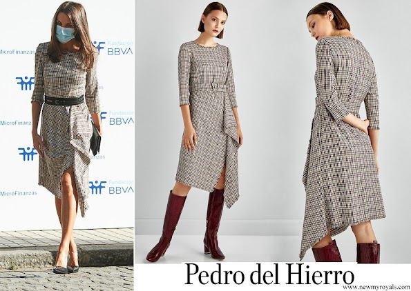 Queen Letizia wore Pedro del Hierro checked dress