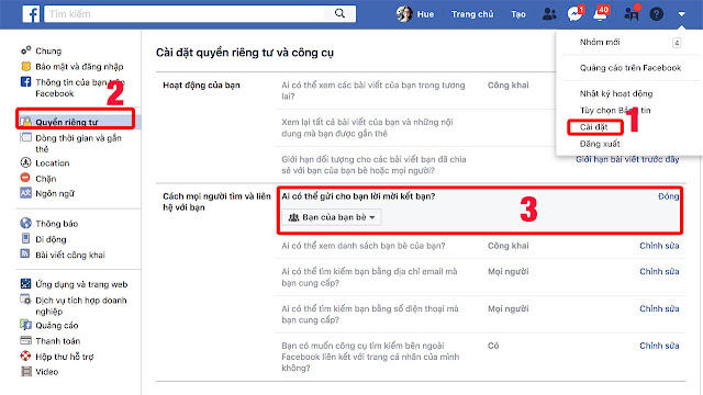 Chặn kết bạn trên facebook máy tính