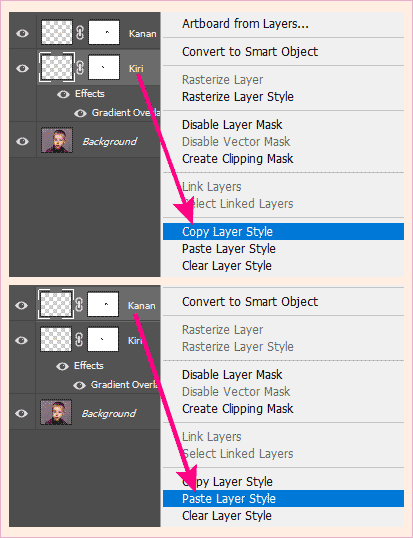 efek Blending Options di Photoshop bisa dicopy-paste ke layer lain