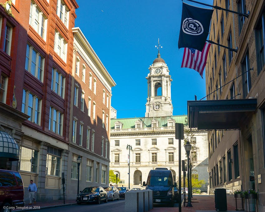 Portland, Maine USA May 2018 photo by Corey Templeton Nothing but blues skies beyond Portland City Hall.