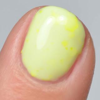 yellow nail polish with neon yellow glitter