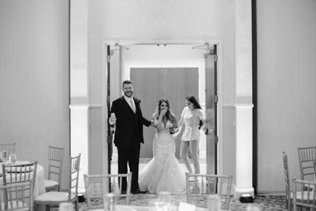Wedding reception first look with wedding planner