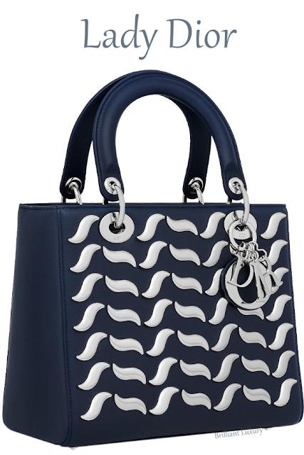 Sapphire blue Lady Dior calfskin bag with wave-shaped metallic studs #brilliantluxury