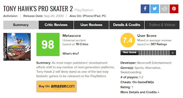 Tony Hawk's Pro Skater 2 Metacritic PlayStation 98 Metascore
