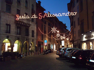 Festive lights in the Via Sant'Alessandro in Bergamo