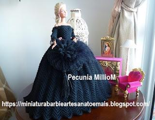 Vestido de Época em Crochê Para Boneca Barbie - Sra. Inglesa do Séc. XVIII Por Pecunia MillioM 4