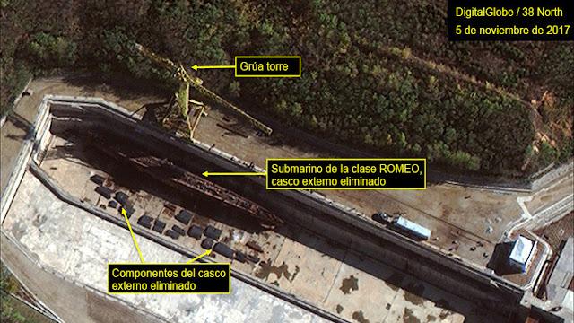 """Imágenes por satélite revelan el plan """"agresivo"""" de Pionyang de crear un submarino de misiles"""