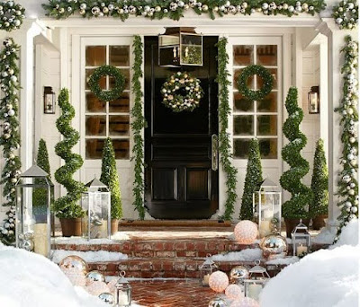 pretty ,Christmas ,front porch ,decoration