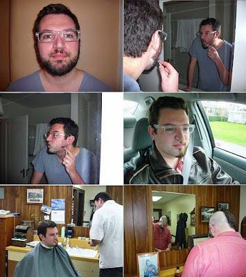 Lustiger Mann beim Frisör - witzige Männerfrisur