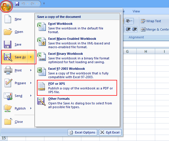 MS excel to PDF