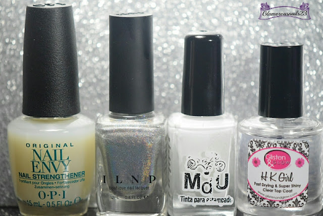 O.P.I. Original Nail Envy, ILNP Mega (S), Mundo De Unas White, Glisten & Glow HK Girl Fast Drying Top Coat