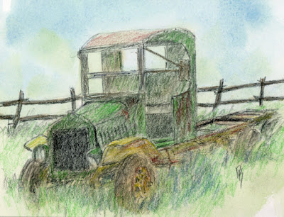 charcoal pencil sketch abandoned truck Mack