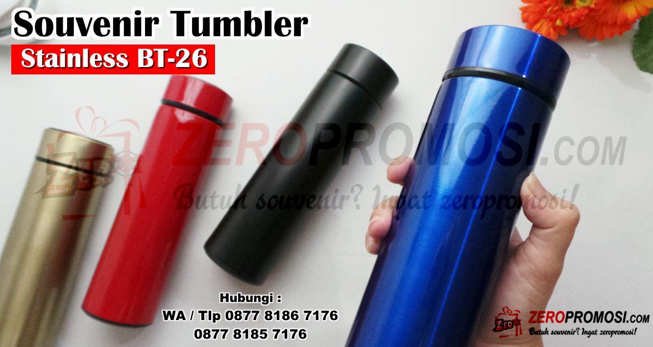 Termos Tabung Polos Tumbler Botol Vacuum Souvenir BT26, BT26 Termos Tabung Eksklusif, Tumbler bt26 stainless cetak sablon logo