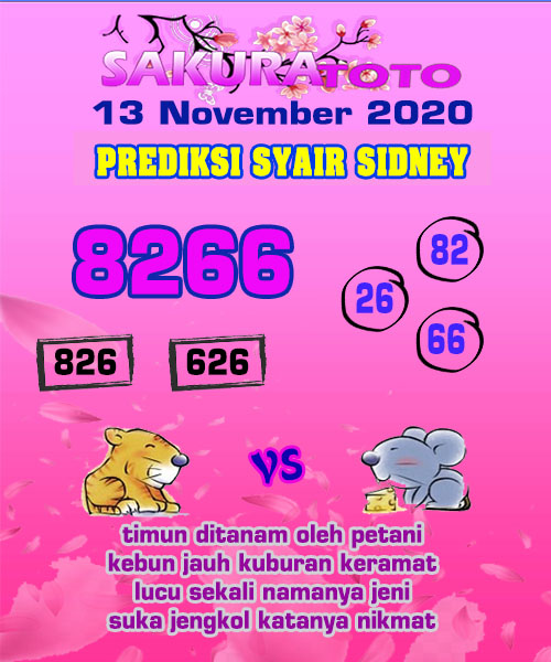 Syair Sakuratoto Sidney Jumat 13 November 2020