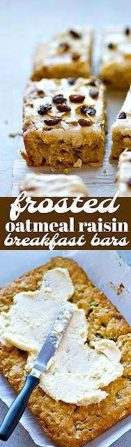 Frosted Oatmeal Raisin Breakfast Bars