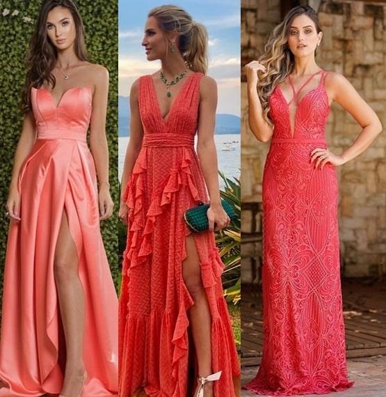 vestidos coral para madrinhas de casamento