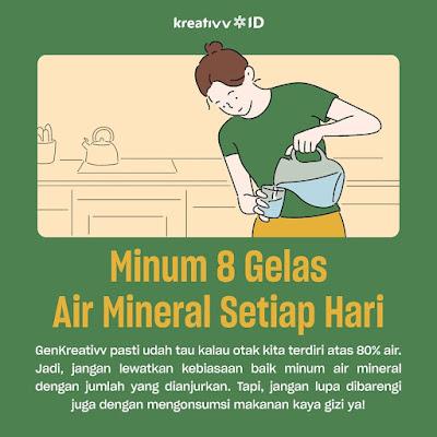 Tips kerja dirumah Minum 8 Gelas Air Mineral Setiap Hari