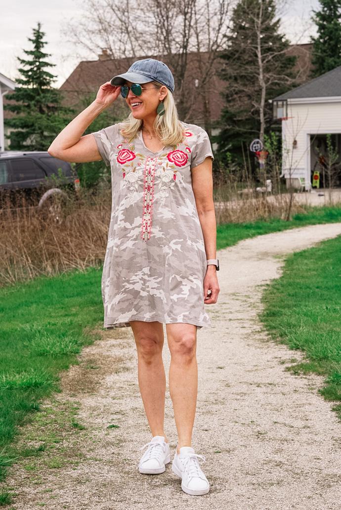 caite and kyla camo print tee shirt dress