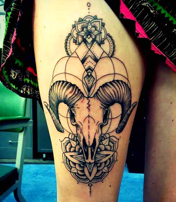 Best aries tattoos for girls thigh