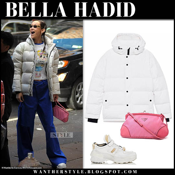 Bella Hadid in white puffer tna jacket and blue wide leg monse pants model winter street style november 16