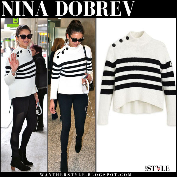 Nina Dobrev in white black stripes sweater kate spade what she wore streetstyle