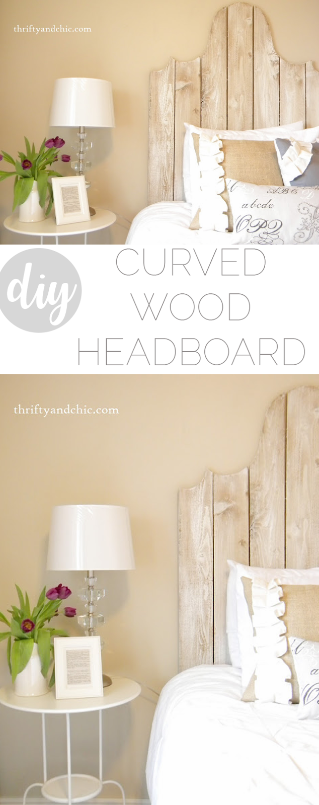 diy farmhouse style wood headboard. Check out this simple little trick to get symmetrical curves!
