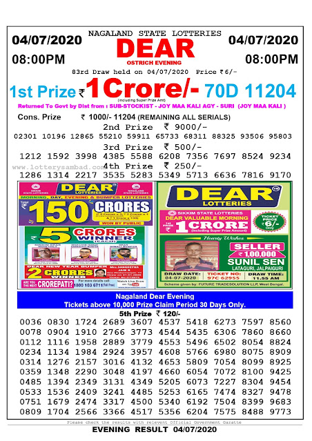 Nagaland State Lottery Sambad 04-07-2020 Today Result 8 PM