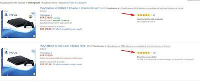 Confronto valutazione Amazon
