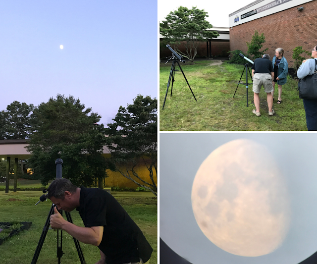 Yours truly giving a thumbs-up after the clouds gave way to the moon, Dr. Patt Steiner providing views of the moon through her refractor telescope, and a quick shot of the moon through the Celestron refractor using my iPhone.