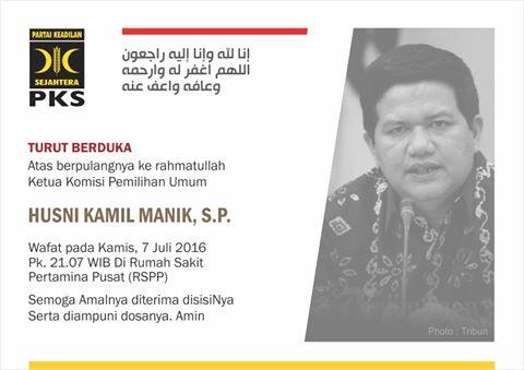 PKS Kota Medan Turut Berduka Cita Atas Meningalnya Ketua KPU Pusat