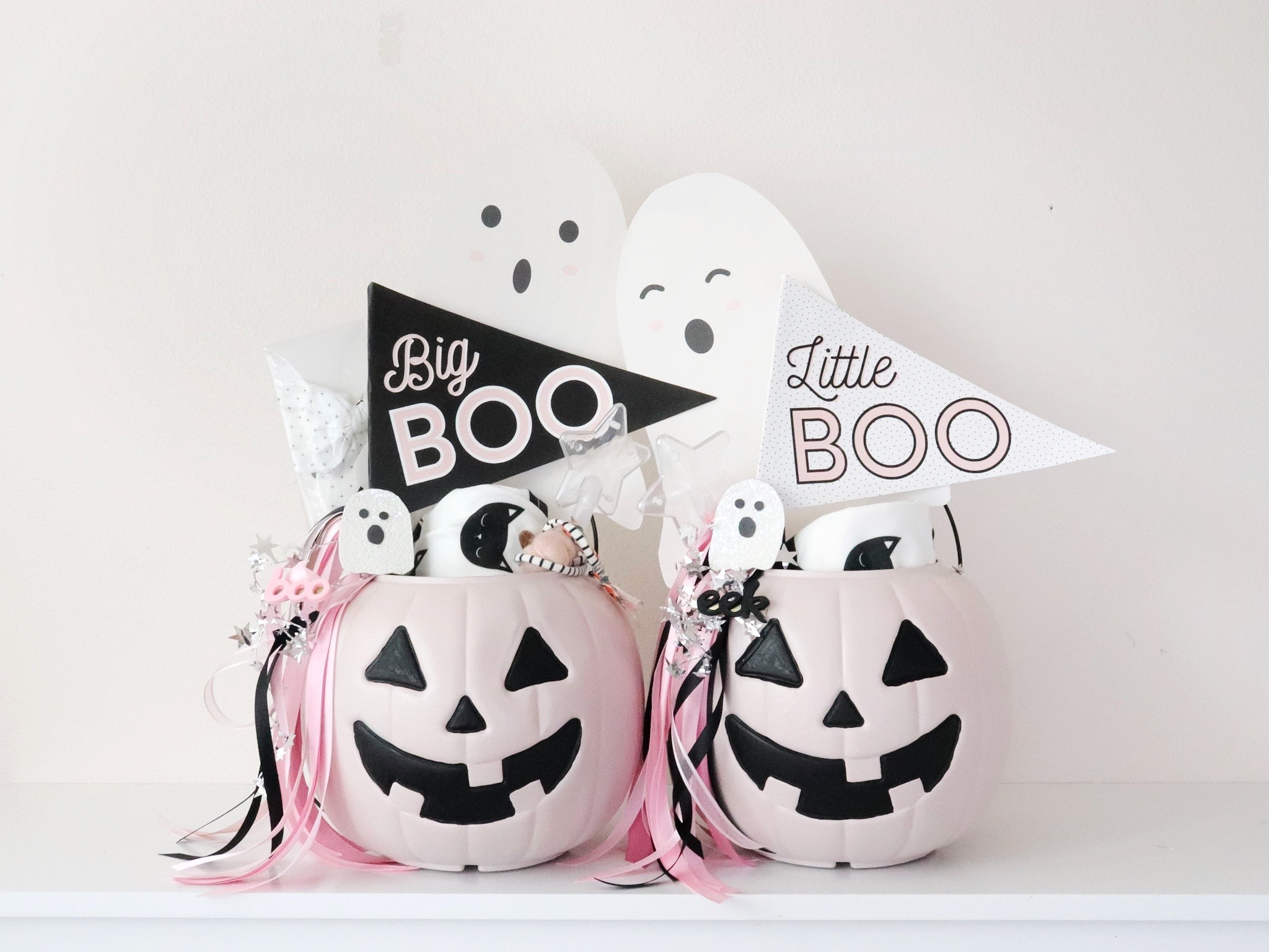 girls halloween boo baskets
