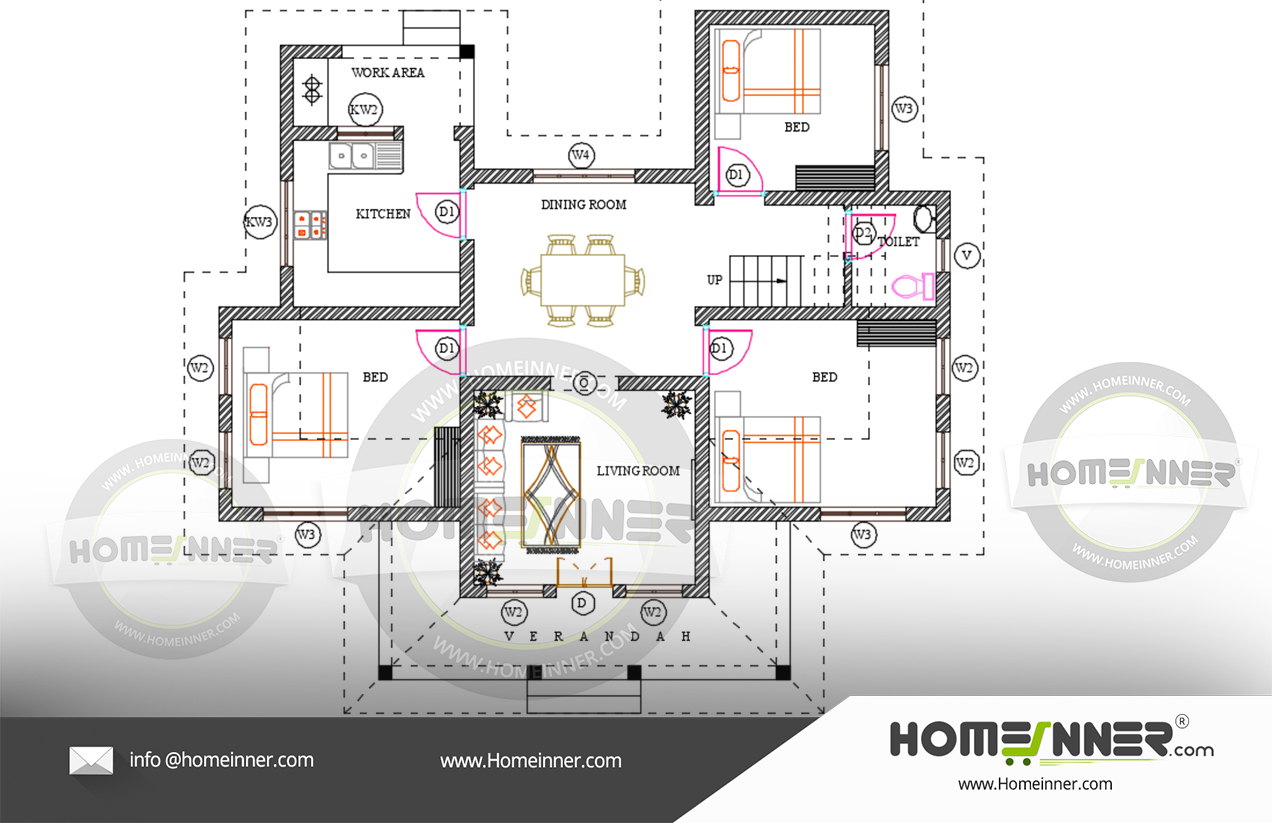 Free floor plan Kerala Illam style home 3BHK