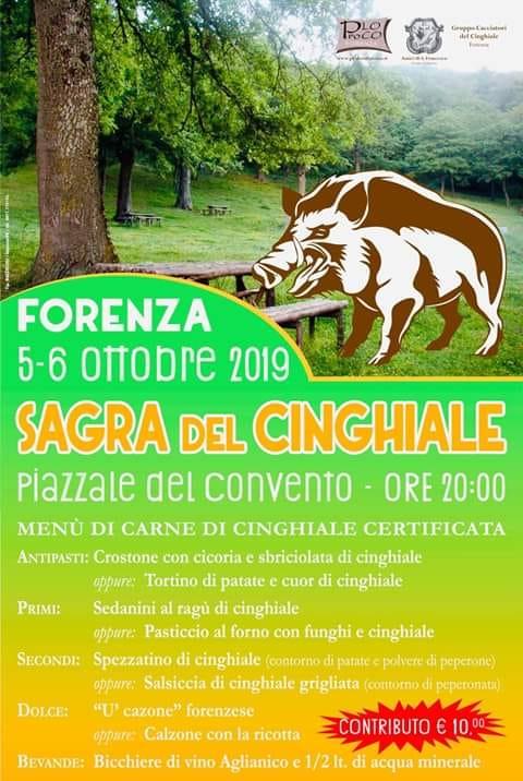 A Forenza il 5 e il 6 ottobre si svolgerà la Sagra del Cinghiale
