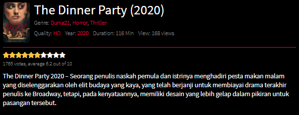 Nonton Film The Dinner Party (2020) Sub Indo Full Movie | Link 2021