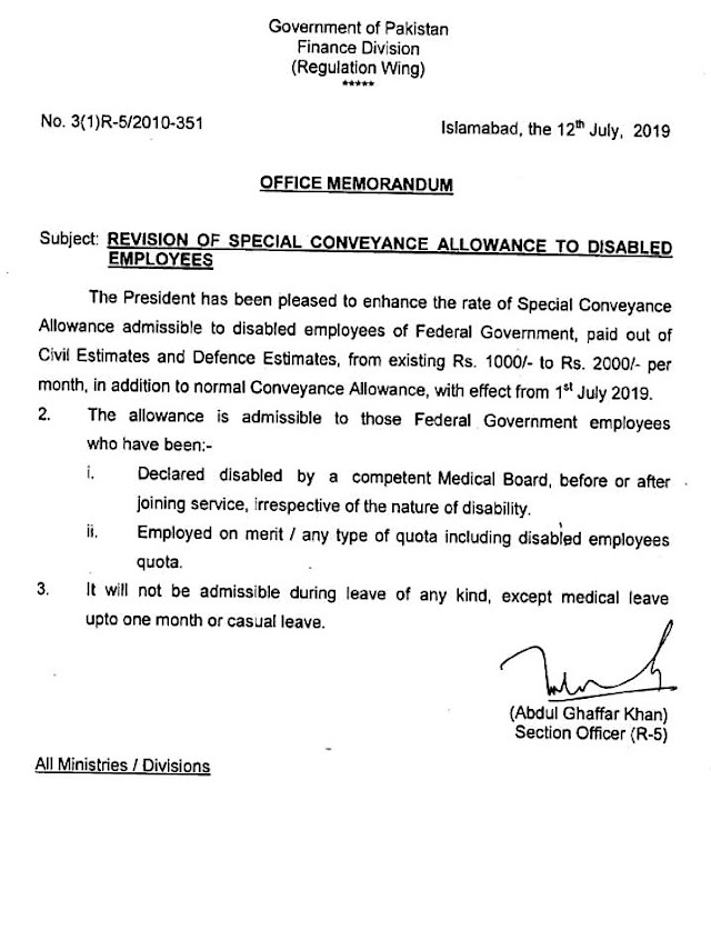 REVISION OF SPECIAL CONVEYANCE ALLOWANCE TO DISABLED EMPLOYEES OF FEDERAL GOVERNMENT