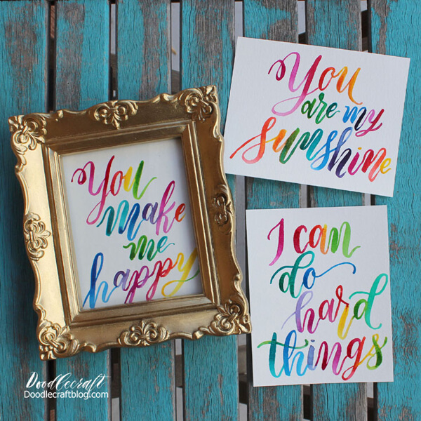 watercolor rainbow hand lettering tutorial