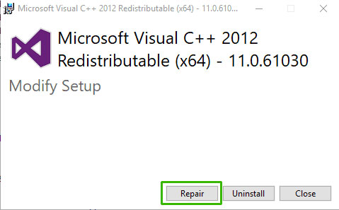 repair all your Microsoft Visual C++ Redistributable