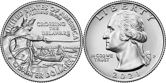 USA quarter dollar 2021 - General George Washington Crossing the Delaware