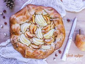 Tarte rustique pomme, poire et noisette