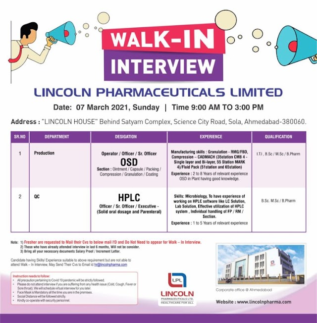 Lincoln Pharmaceuticals | Walk-in for Production and QC on 7th March 2021