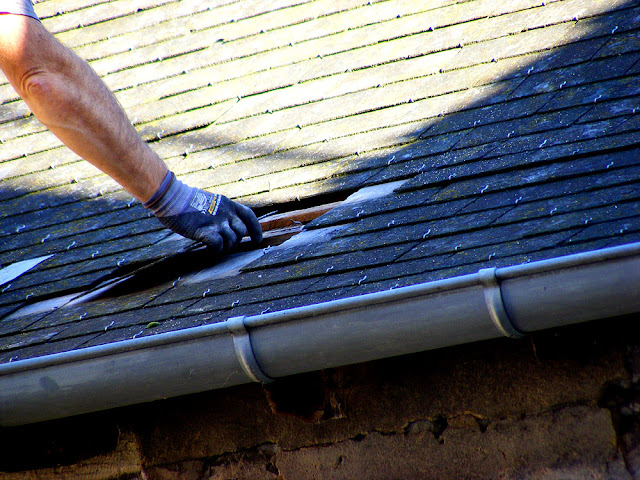 Replacing slates, Indre et Loire, France. Photo by Loire Valley Time Travel.