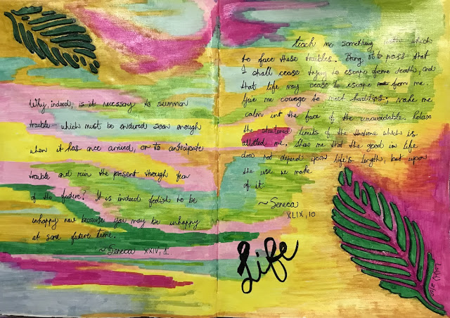 bright image of art journal entry using quotes from Seneca about life, #JournalArt2020