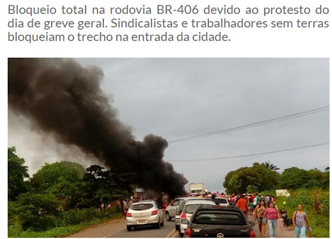 BR-406 esta bloqueada na altura de Massaranduba interior de Ceará Mirim, devido aos protestos.