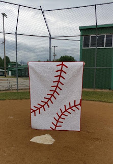 Baseball throw quilt that was a gift for my son's t-ball coach