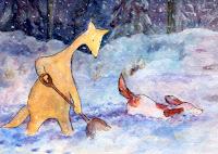 A postcard where Hulmu and Haukku dog are plowing snow.