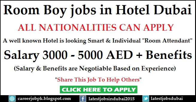 Room Boy jobs in 4 Star Hotel Dubai