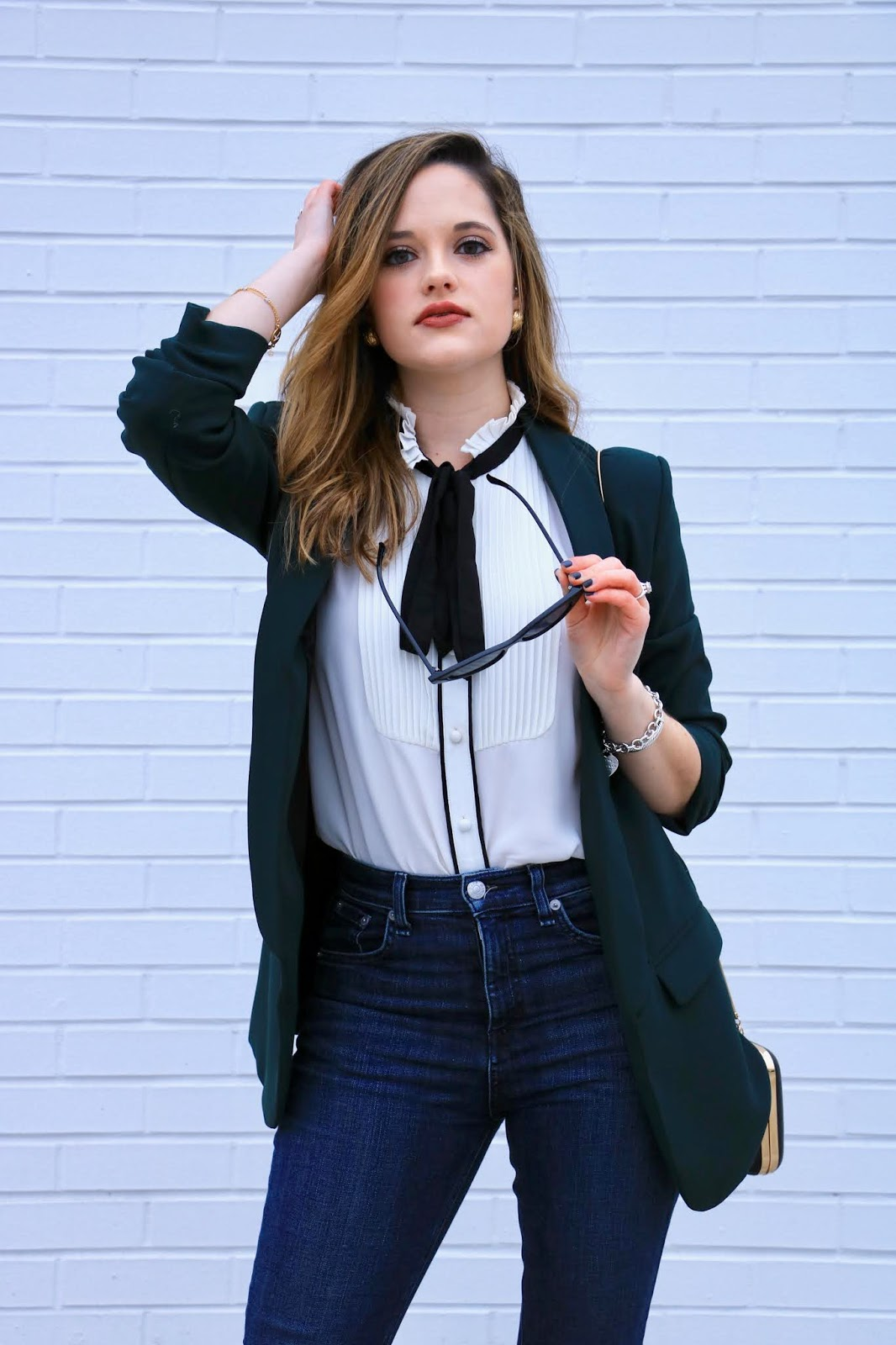 Nyc fashion blogger Kathleen Harper wearing a fitted long blazer outfit.