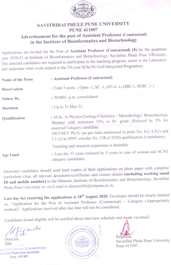Pune University Zoology/Microbiology/Biotech/Botany Assistant Professor Job Openings
