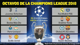 Calendario de Octavos de final de la Champions League. Fechas, horarios  y transmisiones de TV de la Champions League 2017-2018.